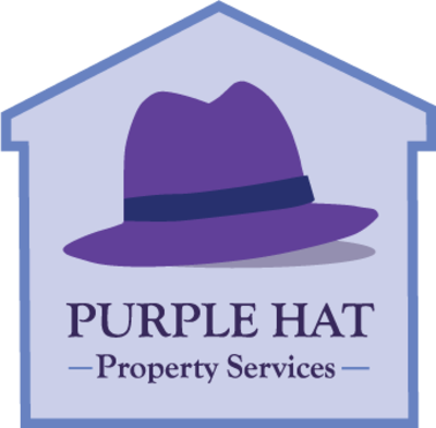 Small purple hat logo in house